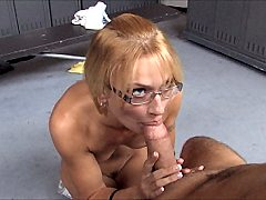 Nerd gets face fucked doggystyle and blasted - cum dribbling facial vide