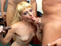 Slutty Blonde Sucks In A Gangbang And Gets Cum Sprayed In Her Warm Mouth