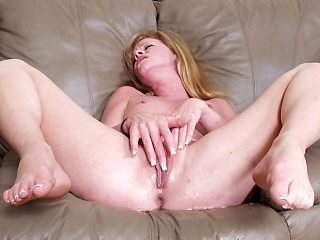 Blonde granny Jessica finger fucks her big young is hot snatch lovers th