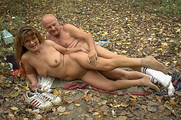 Horny grandma Francesca wanders around shooting the woods naked and gets