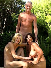 Lucky old men cum with his nudist young boys and old ladies - old meets young nudists