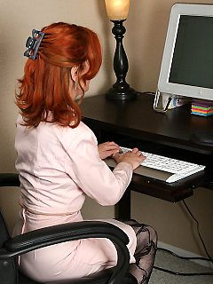 Redheaded office pantyhose girl carmen looks great great at 53 year old