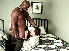Buffed up black bear stuffing his stiff cock deep into ivory.