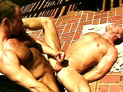 Hard bodied gays Eric Evans swallows and Brent Banes show off their musc