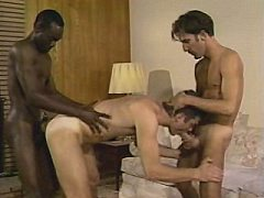Slim and amateur young gay caught up in the middle of interracial threes