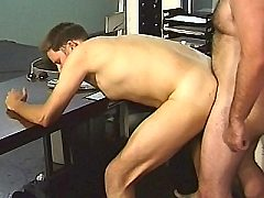 Hard muscled gay office workers taking a break from work to guzzle big s