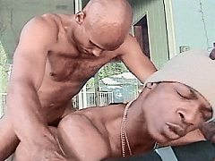 Black stud having his hole pounded hard by hairy gay