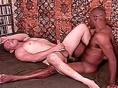 Latino bear getting his hairy slut ass doggystyle fucked interracial by