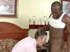 Interracial gay threeway sex