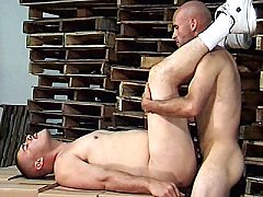 Gay Latinos Raul and Mario strip eachother off in a warehouse to check..