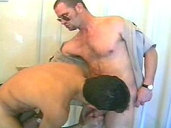 Hairy gay couple musclemen strips off then gets hot and...