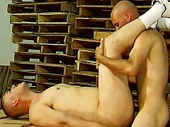 Big muscled gays Anthony Sosa and Lex Kyler take turns drilling their as