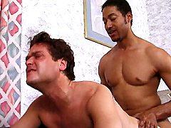 Horny interracial gay lovers Dennis and Ben swallowing dicks.