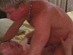 Horny amateur gay hunks in hot steamy ass pumping thrill in large bed