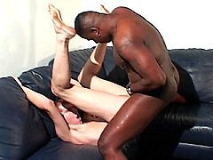 White gay sucking on a huge black cock