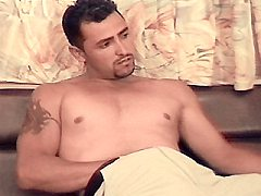 Tattoed latino stud with sexy moustache pumping into his huge meat on al