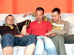 Horny gay Ryan undresses and sucking his friends tease wangs and posing