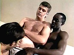 Horny animated black gay guy helping white dude squirt his manmilk on ho