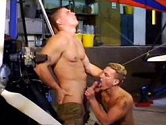 Hard bodied gay hunk gets out big cock sucked