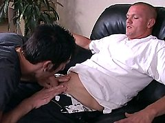 Two massive white studs blowing each others meaty cocks in the living ro