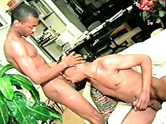 Ebony gay gagging over a huge dick cowgirl on the couch