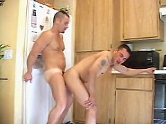Slightly matured bear couple ass pumping while standing...