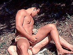 Latino muscle men cock sucking and fucking outdoors