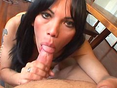 Tranny Sucks Big Cock and Gets White Cock Sucking In The Ass