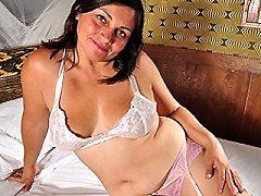 Hot tall busty latin housewife masturbating
