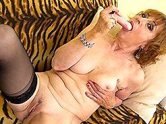 Naughty mature plump girdle lady enjoys some kinky clothes slightly show