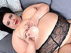 Curvy BBW Anna mary playing wild bed lez nylon bodystocking fetish lesb
