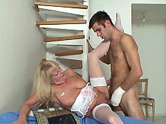 The grandma has grown a dripping wet and wet pussy and the young guy fuc