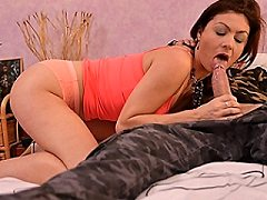 French milf brunette sucks off her sucking cock before riding dick and t