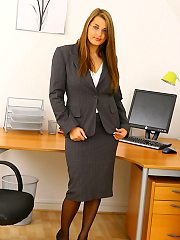 Jenkins peels away her secretary suit after finding a hard days work, to