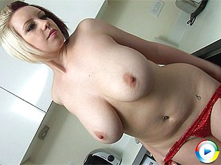 Lily Pink gets naked fun in the kitchen teasing and for her wet big pupp