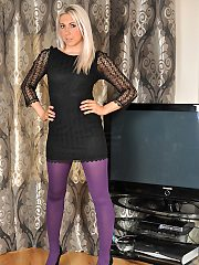 Alison takes off using mini short black dress and slips off her purple p