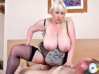 Jo Juggs shows her udders fucked hard then riding boy on large cock