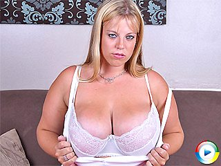 Angel sucking on her big juicy melons and finger fucking her pussy