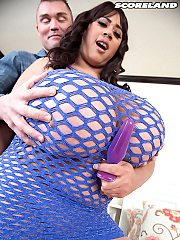 Brunette female Roxi Red pleases her man with pictures her natural monst