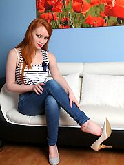 Gorgeous redhead Charlie gets totally posing naked petite nubile body ea