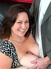 Mature Roxy J gets her bazzookas and cunt is fucked hardcore by salesman