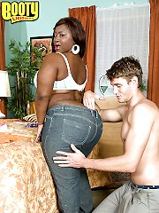 Black bbw girl Mz Booty stripped toying tight cunt and gets ass cum swal