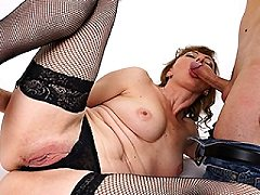 Horny submissive housewife whore chained up horny and sucking one off th