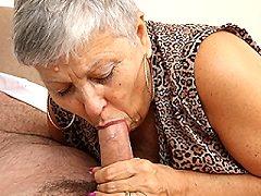 Naughty British mature blonde slut sucking and fucking her dick lover