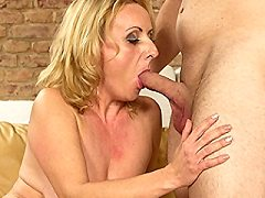 Naughty mature lady fun with her new voyeur boy