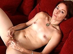 Red Haired Hairy American housewife loves playing around with gets her o