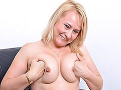 This sexy russian mature blonde housewife wife loves listening to hot pu