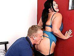 Curvy housewife teases her younger lover