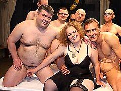 Kinky german clothes slightly shows a crazy gangbang