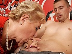 Three old blond bound tight shiny black silk dress donna shows oral 6